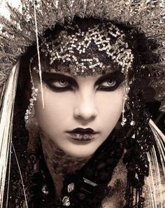 Amazing black eye makeup. Goth Russian Princess.