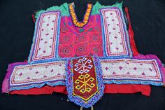 Vintage Banjara Neck Yoke Colorful Embroidery by coloursofspirit