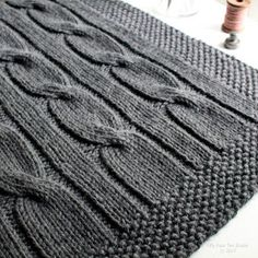 North of the River chunky cable blanket knitting pattern features big, bold cables and a simple seed stitch border. Knitted Throw Patterns, Chunky Knitting Patterns, Knitted Afghans, Knitted Throws, Knitting Terms, Knitting For Charity, Cable Knitting, Circular Knitting Needles, Chunky Knit Throw