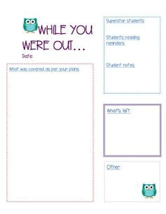 Supply teacher resource: leave notes for teachers after a day of supply work!