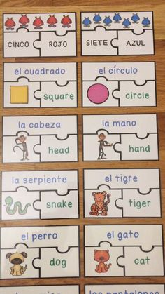 Learning Spanish Vocabulary Games Puzzles ESL Activities for Kids Bundle