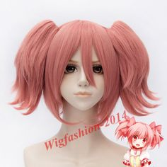 Short Pink Anime Puella Magi Madoka Magica Cosplay Wigs Costumes hair wigs+Cap #Aicos #FullWig