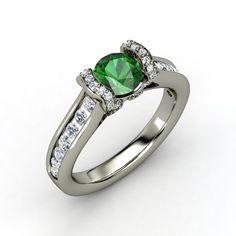 Round Emerald 14K White Gold Ring with Diamond & Diamond  - lay_down