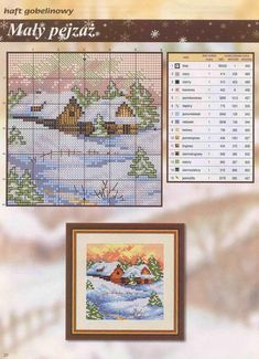 wintery house/cabin, snowy day cross stitch