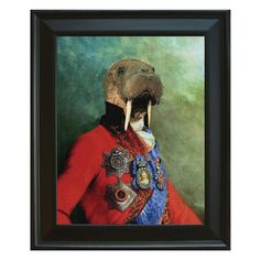 Beat Up Creations  Adorably Austere Animal Prints    Self-taught artist Angela Rossi creates contemporary collages featuring noble animals dressed in elaborate Renaissance garb. Beat Up Creations has put together this all-new set of framed prints, which capture several inimitable creatures—including llamas, parrots, and pups—striking some most curious poses.