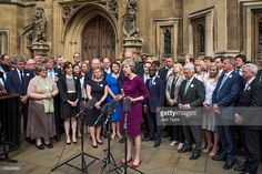 British Home Secretary and Conservative leadership contender Theresa May talks outside the Houses of Parliament on July 7, 2016 in London, England. Theresa May has the backing of 199 fellow MPs after the second ballot for the leadership of the Conservative Party. Receiving 84 votes, Andrea Leadsom MP joins May on the shortlist presented to the Conservative Party members after Michael Gove was eliminated with 46 votes.