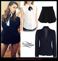 Ariana Grande posted a picture yesterday wearing a Bonjour Blouse ($48.00) and the After The Dance Shorts ($38.00) both from Nasty Gal, teamed with a navy blazer similar to this from Mango ($59.99). Check out stealherstyle.net