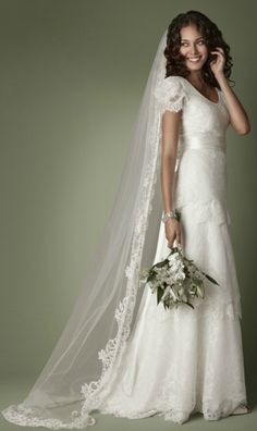 Simple Lace Wedding Dress for Second Wedding. Cap Sleeve Wedding Dress for Older Bride over 40,50,60.