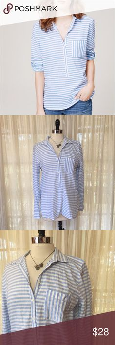 💗LOFT Blue Striped Softened pocket shirt Size large. We feel more relaxed just looking at this 3/4 length tee. We love the tabbed sleeves that. Am be rolled up or down depending on how intense your office AC is, and we also love it tucked into a skirt or over jeans. 100% cotton. $54.50 EUC  💟Fast 1-2 day shipping 💟Reasonable offers accepted 💟Purchase 3 or more items & get a special bundle rate!  💟Smoke-free home LOFT Tops Blouses