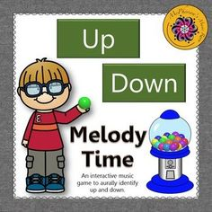 Your elementary music students will love aurally reviewing the music/sound is going up (ascending) or going down (descending) with this interactive music game. Get ready for the excitement when they select the correct answer and a gumball rolls across the page. Excellent music resource!