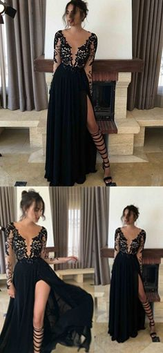 Black Prom Dress,Long Prom Dresses,A line prom Dresses,Evening Dress Prom Gowns,Lace Long Sleeves Women Dress,prom dress by DestinyDress, $217.39 USD
