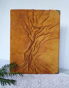 Photo Album 4x6 Leather Album Tree painting Handmade by AnnaKisArt