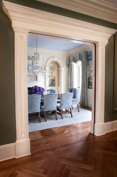 Powder Blue, Purple, Green and rich Brown dinning room