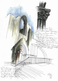 Carmo Convent, Largo do Carmo, Lisbon. #sketch #sketching #urbansketchers #theheadlessketcher #drawing #sketchbook #architecture  #Portugal #uskp #pendrawing #watercolor #Lisbon