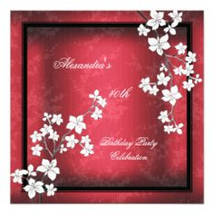 Red Asian Black Blossom White Birthday Party Invite