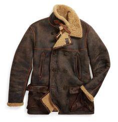 f78dec8c3e3b5 RRL Ralph Lauren Navy Inspired Lamb Shearling Leather Peacoat Jacket-MEN- M
