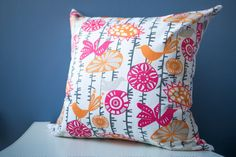 SALE: 20x20 Cotton Throw Pillow Cover - Pink / Gray / Orange / Whimsical Birds / Gray Chevron by ThimbleAndTag $15.50