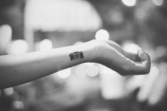 b, black and white, bokeh, camera, camera tattoo