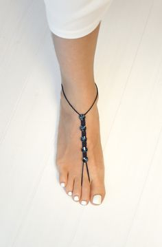 Simple Barefoot Sandals with Swarovski Crystals Bridesmaids Foot