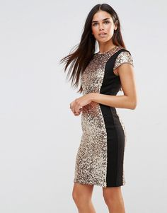 French+Connection+Lunar+Sparkle+Dress+in+Gold