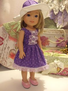Purple White Polka Dot by SimpleDollClothes on Etsy