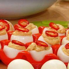 Deviled Eggs presented in a pepper