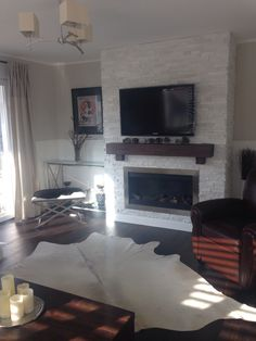 Stone fireplace living room