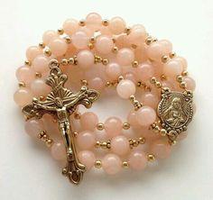 Pink Aventurine Rosary, Sacred Heart of Jesus, Natural Pink Aventurine, Antiqued Gold Crucifix, Handmade Rosary Rosary Prayer, Praying The Rosary, Holy Rosary, Rosary Catholic, Catholic Gifts, Catholic Prayers, Religious Gifts, Religious Jewelry, Prayer Beads