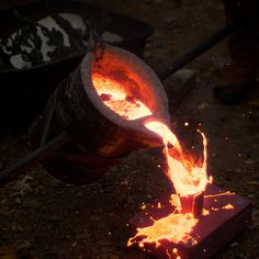 Molten Iron Being Cast