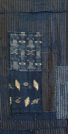 This is how the japanese used to repair there cloth garments so loveit! Japanese textile. Stripe on Stripe #borojapanese #japanesetextiles