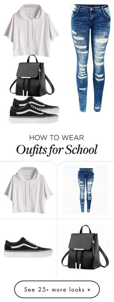 """school day"" by stephanierafanan on Polyvore featuring Vans"
