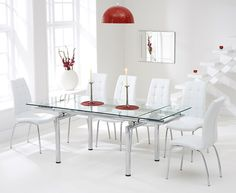 Calgary 140cm Extending Glass Dining Table with Calgary Chairs.