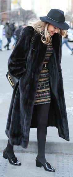 Classy long black mink fur coat