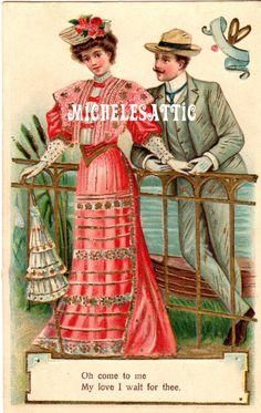Antique Valentine Postcard   Digital Download by MichelesAttic