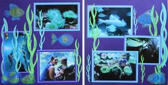 Scrapbook Page - At the Aquarium - 2 page layout with seaweed and fish from Everyday Life Scrapbook 11
