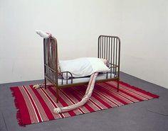 men in bed by danish artist peter land - designboom | architecture