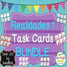 This task card bundle includes ALL TEN of my 48-card sets for the Spanish textbook Realidades 1 at a savings of 25%! That's 480 cards total and like getting two and a half sets for free! These sets are ready to print, cut, and use. These task card sets each have 48 different cards to get your students up and moving while practicing all the grammar and vocabulary covered in the Realidades 1 textbook.