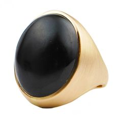 Black Jade Gold Ring ❤ liked on Polyvore