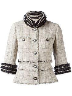 - Chanel Cardigan - Ideas of Chanel Cardigan - Shop Chanel Vintage fringed tweed jacket. Chanel Jacket Trims, Chanel Style Jacket, Chanel Coat, Chanel Vintage, Vintage Outfits, Vintage Jacket, Blazers, Polyvore, Clothes