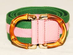 Authentic Gucci Green & Pink Bamboo Belt