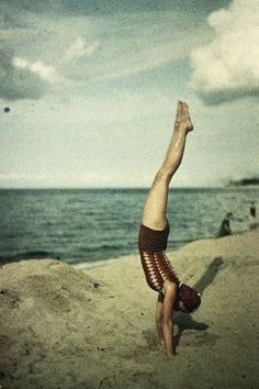 Eva doing a handstand, ca.1920, autochrome by Dr. Friedrich 'Fritz' Paneth