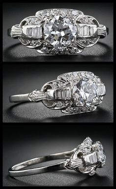 Art Deco diamond engagement ring with 1.13 carat European cut diamond. Via Diamonds in the Library.