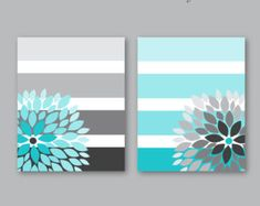 Floral Bursts Big Stripes Art Prints, Ombre Style Modern Home Decor Set of 8 x 10 OR 11 x 14 sizes // Turquoise Grey Art Unframed Floral platzt große Streifen Kunstdrucke Ombre Stil Modern Diy Canvas, Canvas Art, Canvas Crafts, Art Gris, Home Decor Sets, Grey Art, Diy Painting, Original Artwork, Arts And Crafts