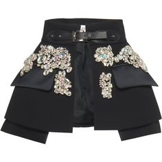 Embellished Overlay Skirt | Moda Operandi (136.665 HUF) ❤ liked on Polyvore featuring skirts, open front skirt, embellished skirts, belted skirt and overlay skirt