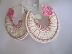 pink and cream bohemian crochet hoops