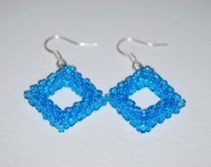 Beaded Square Pattern Jewelry Set (Bracelet and Earrings) made with TOHO beads - handmade using the Peyote 3D technique - Etsy