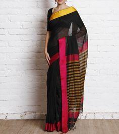 Black Banarasi Handwoven Cotton Silk Saree