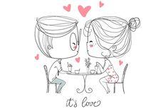drawings couple boy cafe valentine valentines sketch drawing natalia cartoon skripko illustration easy simple pencil creativemarket