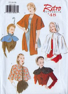 Vintage Reissued Cape & Capelet Pattern: Butterick 6411 Size: 6 8 10 Bust: 30 32 34 Year: reissued from 1948 Full garment description shown Cape Pattern, Retro Pattern, Vintage Dress Patterns, Clothing Patterns, Fashion Patterns, Plus Size Vintage, Retro Vintage, Modern Retro, Vintage Style