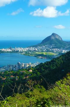 View over Rio de Janeiro seen from helicopter pad at Dona Marta Overlook.